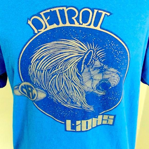 Detroit Lions Tshirt Single Stitching
